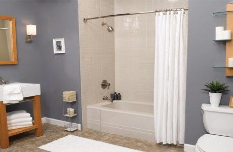 Beige Tile Shower & Tub with Maple Sink