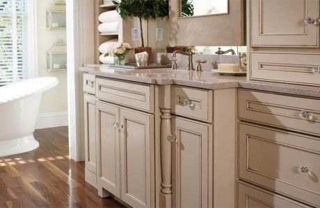Marble Sink with Beige Cupboards
