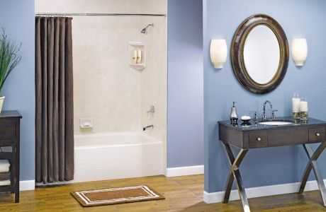 Off-White Tile Shower & Tub with Brown Sink