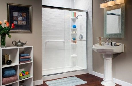 Sliding Door Shower with Pedestal Sink