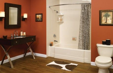 White Tile Shower & Tub with Black Sink