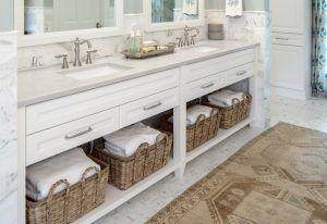 White Bathroom Vanity with Open Shelving