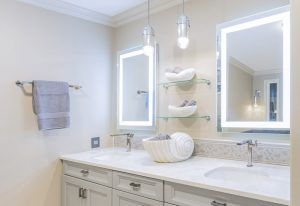 Bathroom with Lighted Vanity Mirrors