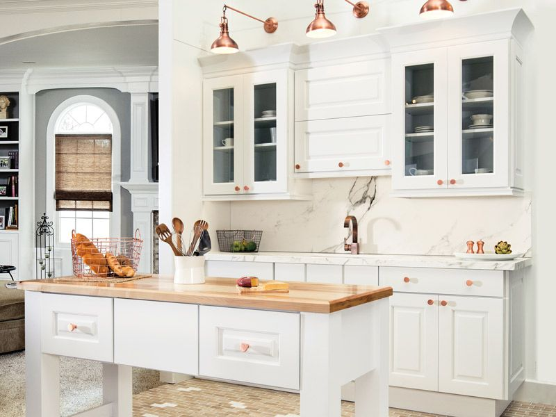 White Kitchen with Rose Gold Accents
