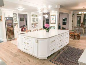 White Kitchen Oversized Island