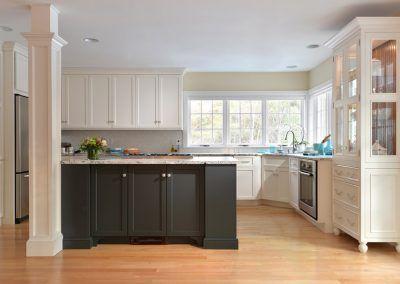 White Kitchen with Dark Kitchen Island