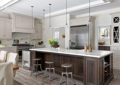 White Kitchen Cabinets with Wood Grain Island