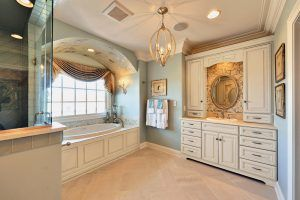 Luxurious bathroom with soaking tub and walk in shower
