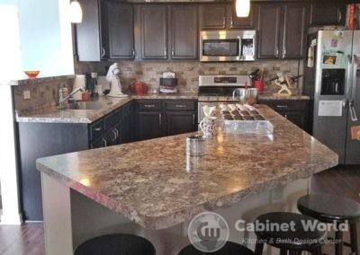 Dark Kitchen Cabinets with Large Island
