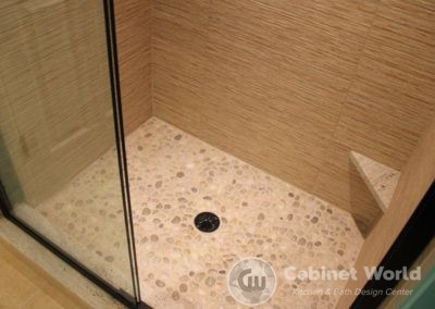 Custom Tile Shower with Pebble Floor
