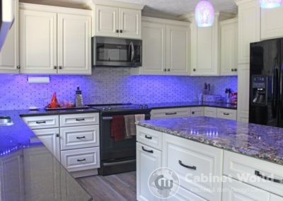 Kitchen Design with Purple Lights