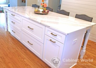 Kitchen Island with Gold Accents