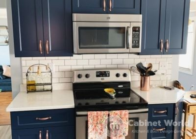 Navy Kitchen Cabinets with Rose Gold Accents