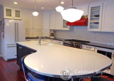 Retro Kitchen Design with White Quartz Island Top and Metal Edge