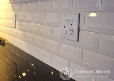 Retro Kitchen Design White Tile Backsplash