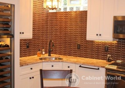 Basement Kitchen Design with Oil Rubbed Bronze Hardware